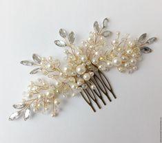 Купить Гребень для невесты - золотой, шампань, свадебный гребень, гребень для волос, гребешок, гребешок для волос