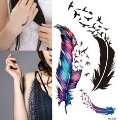 Trendy Waterproof Small Fresh Wild Goose Feather Pattern Tattoo Stickers - Photo Color Charming Body Accessories HB-0250