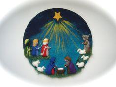 Nativity CirclePicture .Christmas. Needle Felted. Wet door FilzArts
