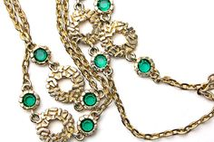 Vintage Gold Tone and Emerald Green Crystal by ClassiqueStyle, $32.00