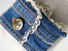 Upcycled Denim Cuff Bracelet made from by NovelDesignsByBeka