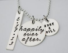 Happily Ever After Bride and Groom Personalized Wedding Necklace Engagement Jewelry Custom Anniversary Hand Stamped Sterling Silver. $72.00, via Etsy.