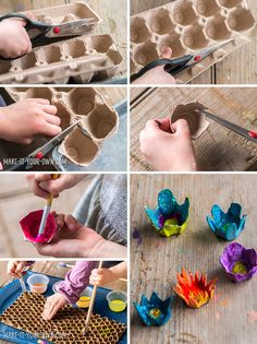 DIY SMALL WORLD: Children are always fascinated by a change in size. *Love these egg carton flowers!