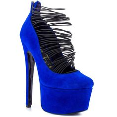 London Trash Women's Ceres - Blue Suede ($100) ❤ liked on Polyvore featuring shoes, pumps, heels, salto, trendy, stiletto heels, ankle strap, rounded toe, platform and women