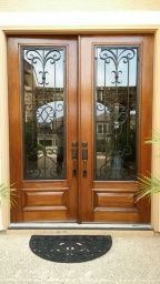 Wood And Wrought Iron Grill Front Double Door