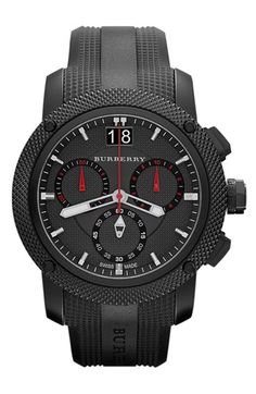 Burberry Chronograph Rubber Strap Watch Black