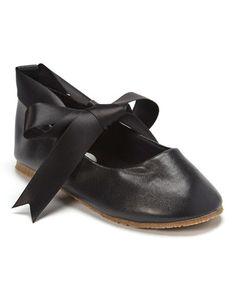 Look at this #zulilyfind! Black Bow Leather Ballet Flat #zulilyfinds