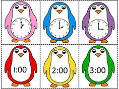 Penguin Time Match Up - Telling time to the hour, half hour and quarter hour $