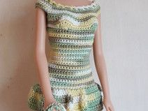 Barbie Kleid (gehäkelt), meliert (grün, gelb)