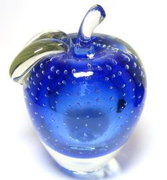 Controlled Bubble Blue Sommerso Apple Paperweight