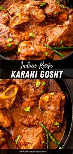 Karahi Gosht is a decadent and rich curry made with either lamb or mutton on the bone, slow-cooked in a thick gravy. Both Mutton Karahi and Lamb Karahi can be made following this authentic restaurant-style recipe. Healthy Indian Recipes, North Indian Recipes, Ethnic Recipes, Tandoori Roti, Gluten Free Rice, Garam Masala, Naan, Food Videos, Slow Cooker