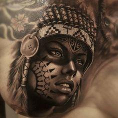 Half Black Make Up and Tidy Headdress Weird Tattoos, Top Tattoos, Badass Tattoos, Celtic Tattoos, Body Art Tattoos, Sleeve Tattoos, Wiccan Tattoos, Indian Women Tattoo, Indian Girl Tattoos