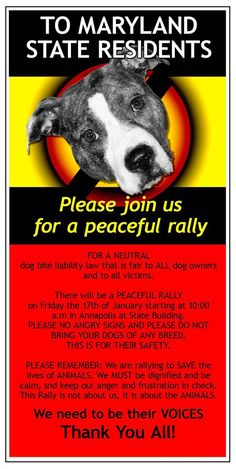 If you are in or near MD, please consider attending this very important rally! Fight for passage of a bill in Annapolis, MD that will STOP putting pitties in the crosshairs!  https://www.facebook.com/events/652876391431246/