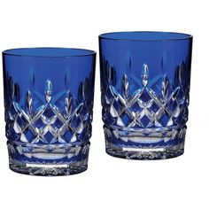cobalt blue waterford crystal lismore double old fashioned glass pair #housewares #vintage #blue