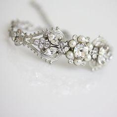 Bridal Crystal Cuff Bracelet Rhinestone Pearl by LuluSplendor, $75.00