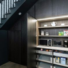 Modern Pantry For Small Appliances Interior Under Stairs Design Under Stairs Dog House, Under Stairs Nook, Under Stairs Wine Cellar, Kitchen Under Stairs, Entryway Stairs, Staircase Storage, Staircase Design, Staircase Landing, Basement Stairs