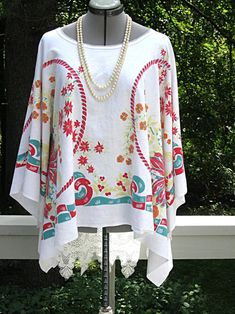 Red Green Yellow Orange oversize one size fits most upcycled Vintage Scarf, Vintage Lace, Vintage Embroidery, Vintage Books, Red Green Yellow, Orange, Plus Size Pants, Upcycled Vintage, Boho Tops