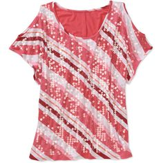 Faded Glory Women's Plus-Size Embellished Sequin Striped Knit Cold-Shoulder Top
