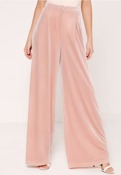 We're lusting over velvet and these blush pink, wide leg trousers are the perfect pair day or night!