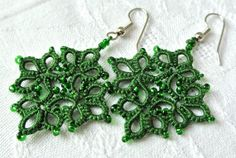 Tatted earrings lace jewelry  beaded textile fibre ♥ by Ilfilochiaro, $16.00