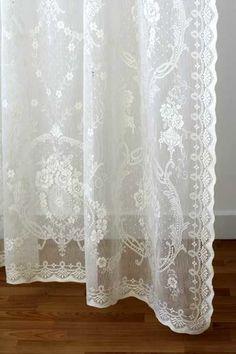 Chantilly Floral Voile Cortina neto Panel De Encaje Vintage-Blanco Y Marfil