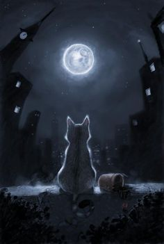 Tonight and Friday, let's do MOON ART. Warrior Cats, I Love Cats, Crazy Cats, Cute Cats, Fantasy Kunst, Fantasy Art, Beautiful Moon, Beautiful Things, Moon Art