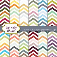 multicolor chevron digital scrapbook papers by lane + may on Etsy, $5.00