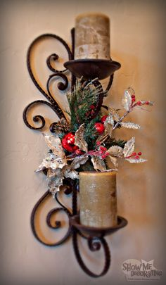 Christmas Decorations-Add a touch of Christmas cheer to a Sconce! Chintomby Jarrett Me Decorating Christmas Stairs, Christmas Love, Beautiful Christmas, All Things Christmas, Christmas Holidays, Happy Holidays, Xmas, Christmas Tablescapes, Christmas Tree Themes