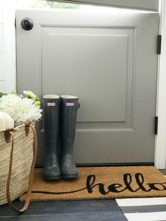 Mudroom Fall Tour - Dreaming of Homemaking Painted Doors, Wood Doors, Dutch Doors, Utility Sink, Mudroom, Hunter Boots, Glass Door, Homemaking, Curb Appeal