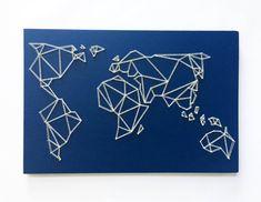 Geometrische kaart String wereldkunst kaart kunst aan de muur
