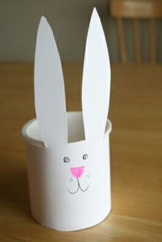You Need: Recycled container for basket -this is a frosting tub White cardstock paper Cotton ball Scissors, markers Glue -glue dots work great  What to Do: 1. Measure your white paper around your container. With your scissors, cut the paper to fit the length around the whole container. Leave a few inches of the paper extra long for the bunny's ears to point out long.  2. Using glue, attach the paper around the container.  3. Color a bunny face with your markers or crayons.  4. Attach a…