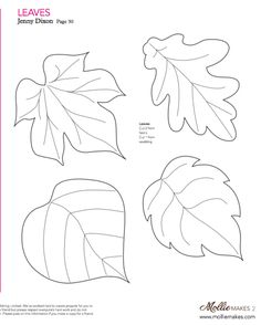 Nice templates for leaves! Mollie makes, Felt Leaf Template--cut out of craft foam to make stamp or embossing plate. Wool Applique, Applique Patterns, Craft Patterns, Felt Patterns Free, Pattern Ideas, Felt Flowers, Fabric Flowers, Paper Flowers, Paper Butterflies