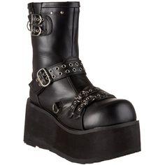 Demonia Clash-430 3.5-inch Women's Goth Punk Lolita Detachable Chains Mid Calf Boots