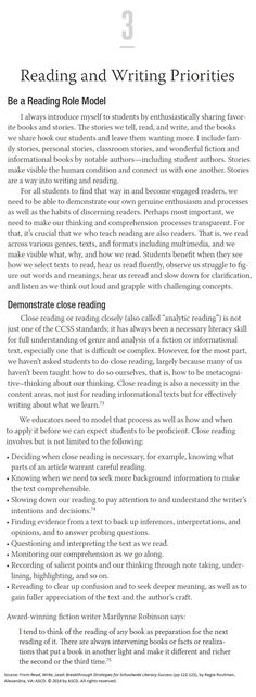 Great advice! This book excerpt from Read, Write, Lead by Regie Routman explains how to be a reading role model and why it is important to demonstrate close reading.