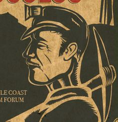 Linocut style illustration, part of a poster