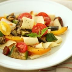 Grilled Vegetables create a flavorful sauce that tastes like a meaty bolognese - great dinner for summer.  Tomatoes, Eggplant, Zucchini