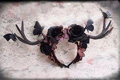 Black Roses Reindeer Elf Antlers Flowers Butterfly Headband