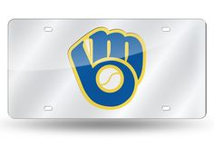 MLB Milwuakee Brewers Ball /& Glove Design Laser-Cut Auto Tag