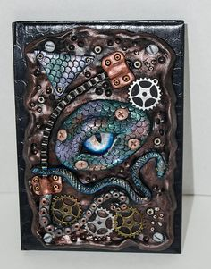 Polymer Clay Paste Dragon Eye Journal by UniquesByGina on Etsy Polymer Clay Dragon, Polymer Clay Art, Polymer Clay Jewelry, Polymer Clay Projects, Polymer Journal, Aluminum Foil Art, Cool Journals, Dragons, Dragon Eye