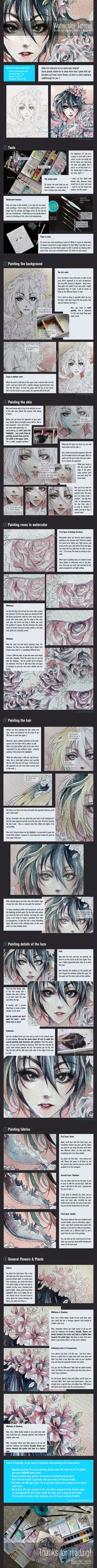 Watercolor Tutorial [Techniques + Flowers] by =Ze-RoFruits on deviantART  Probably several are already annoyed with all these watercolor tutorials, but I want to be able to find them later!!