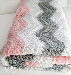 Pink Gray Chevron Baby Blanket Pink Gray Nursery by puddintoes, $55.00