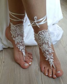 d476f00133e60 ivory Beach wedding barefoot sandals by BarefootShop on Etsy Bridal  Sandals