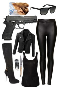 """""""Spy outfit"""" by britishmuffin ❤ liked on Polyvore featuring Topshop, Sally&Circle, Doublju, Love Moschino, Forge de Laguiole, Deepa Gurnani, Ray-Ban, outfit and spy"""