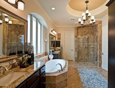 Luxurious master bathroom from Village Builders' in Texas