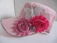 Pink Cadet Hat, Military Hat, Woman Hat, Cap, Rhinestones, Bling Hat, Women Hat, Embellished Hat, Teen, Girls, Pink Bling Butterfly Hat on Etsy, $23.00