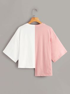 Shop Letter Graphic Contrast Asymmetric Tee at ROMWE, discover more fashion styles online. Girls Fashion Clothes, Teen Fashion Outfits, Girl Outfits, Fashion Dresses, Crop Top Outfits, Cute Casual Outfits, Moda Outfits, Fashion Sewing, Hoody