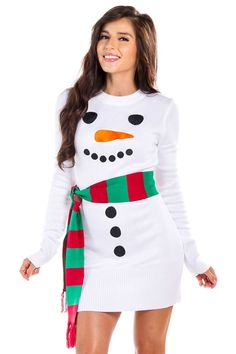 online shopping for Women's Snowman Ugly Sweater Dress - White Snowman Christmas Dress Scarf from top store. See new offer for Women's Snowman Ugly Sweater Dress - White Snowman Christmas Dress Scarf White Christmas Dress, Ugly Christmas Sweater Women, Funny Christmas Sweaters, Half Christmas, Kids Christmas, Tacky Sweaters, Funny Christmas Outfits, Christmas Dress Women, Merry Christmas