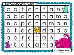 Word Search game for 2 players - cover the words with counters or a card. Last one to cover a word is the winner. CVC Word Search Boards by Games 4 Learning $