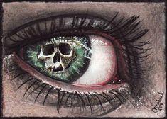Stare death in the eye by acjub on DeviantArt Dark Fantasy Art, Dark Art, Eyes Without A Face, Eyes Artwork, Skull Wallpaper, Crazy Eyes, Desenho Tattoo, Magic Eyes, Human Eye