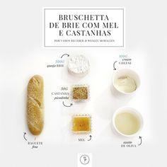 Bruschetta de Brie com Mel e Castanhas do querido chef de cozinha Wesley Moralles. Os ingredientes estão abaixo: Modo de Preparo: 1. ...
